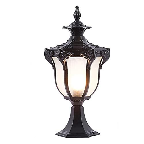 SDFDSSR Luces de Villa de Estilo Europeo IP65 Lámpara Impermeable al Aire Libre Spire Porche Lámpara de pie Pantalla de Vidrio Transparente Poste Exterior Iluminación Decoración Iluminación Lámpara