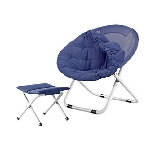FLZXSQC Klappstuhl mit runder Rückenlehne, für drinnen und draußen, Angelstuhl, Familien-Abendessen, zusammenklappbar, tragbar, blau