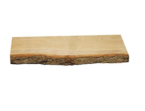 Wandregal, Eiche, massiv, Holz, Regal, Baumrinde, Baumkante, rustikal Wandboard (40 mit Baumrinde)