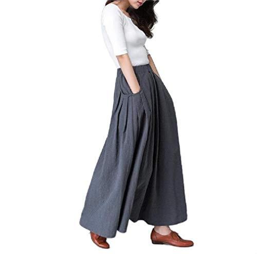 Saia Abetteric feminina drapeada longa elástica casual bolso cor sólida, Dark Grey, US X-Small=China Small