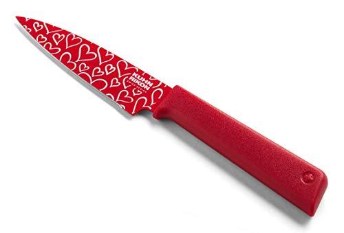Kuhn Rikon 20197 Colori+ Rüstmesser/Gemüsemesser Love Herz, rot, bedrucktes Edelstahlmesser und Reibe Set, gr n, Stainless Steel