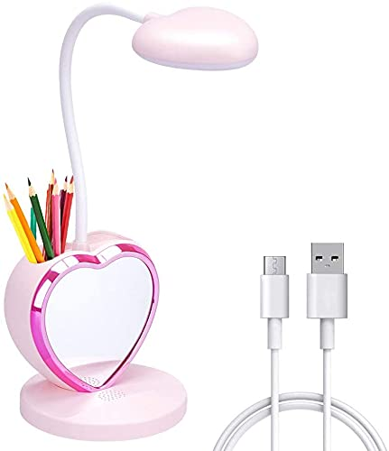 ALUOCYI LED-skrivbordslampa för flickor, laddningsbar skrivbordslampa med USB-laddningsport, ögonvänlig dimbar sänglampa med telefonhållare och telefonstativ, läslampa rosa för studier, barn, tonåringar