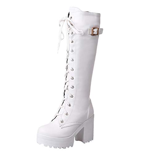 ZARLLE Botas de Cuero para Mujer,Plataforma Impermeable Botas de Tacon Alto,Botas Altas con Cordones,Sexy Zapatos de Tacón,Zapatos de Plataforma Botas de tacón Grueso