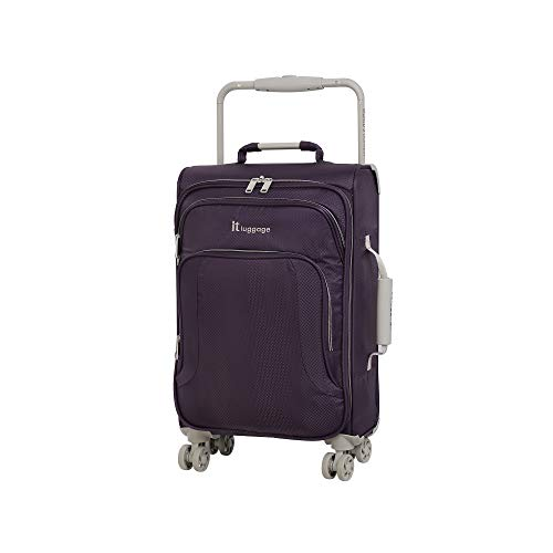IT Luggage 22' World's Lightest 8 Wheel Spinner, Purple Pennant With Cobblestone Trim, One Size