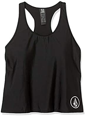 Volcom womens Simply Core Swimsuit Plus Size Tankini Top, Black, 14 Plus