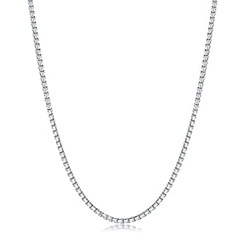 NYC Sterling Necklace 2mm Round Box Chain Sterling Silver For Men And Women Made In Italy  20