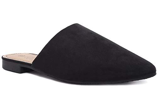 Charles Albert Women's Low Slip On Mule Comfortable Slides-Vegan Suede-Flat Slides for Women Black