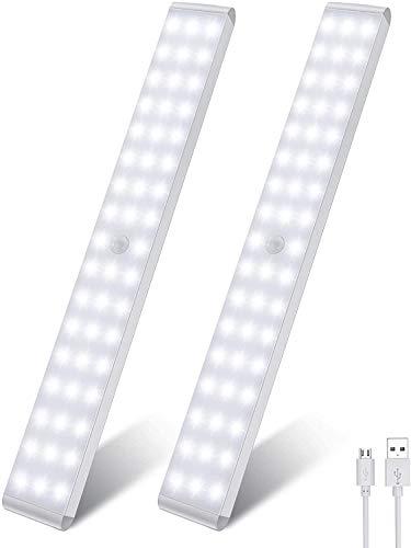 Uooser LED Sensor Licht Bewegungsmelder Küche Lichtleiste 2 Stück Unterbauleuchte 50er LEDs Leiste akku USB Wiederaufladbar Dimmbare Schrankbeleuchtung Neutralweiß 3 Modi Küchenleuchte für viele Räume
