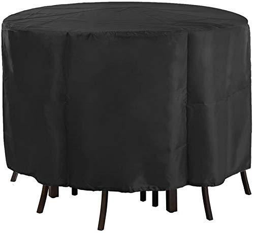 KANGSHENG - Funda redonda para muebles de jardín (128 x 71 cm), color negro