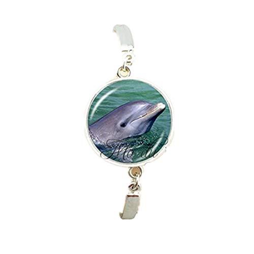 Nueva marca de delfines colgantes dijes de cristal cabujón delfines foto brazalete chapado en plata joyería animal