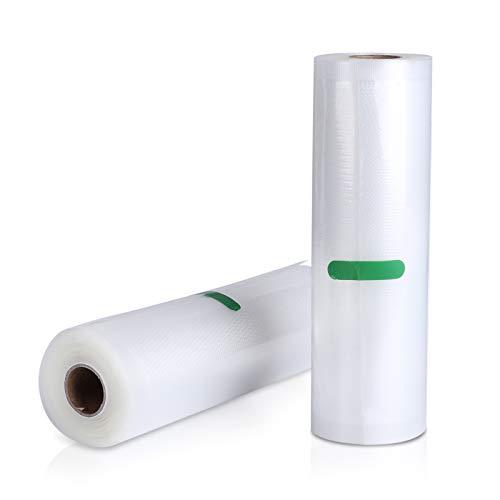 AKZIM 2 Rollen Vakuumierfolie 20x500cm Vakuumierbeutel für alle Balken-Vakuumierer, Profi Folienrollen Mit Geprägte Struktur, Wiederverwendbar, Extrem Reißfest, BPA frei