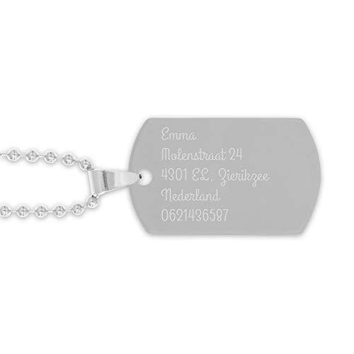 Piastrina Militare con Incisione - La Targhetta di Identificazione Incisa con il Nome o il Testo Include una Collana Libera, Realizzata di Acciaio Inossidabile Anallergico di Alta Gualità (Rodio)