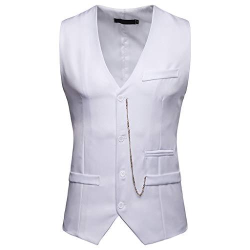 Gilet de Costume Homme,FNKDOR Hommes Chemise Casual Mariage Business Veste sans Manche Blouse Tops(H Blanc,L)