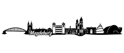 Samunshi® Magdeburg Skyline Wandtattoo Sticker Aufkleber Wandaufkleber City Gedruckt Magdeburg 120x20cm schwarz