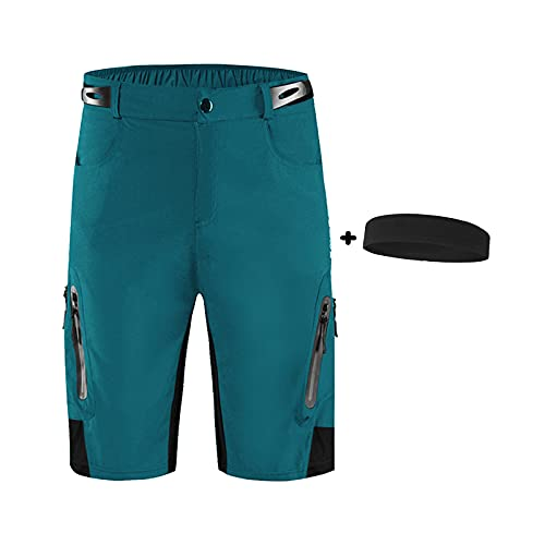 YQA Pantalones Cortos de Ciclismo para Hombre Bicicleta Ciclismo Ropa Pantalones Cortos Rspirables y Ligeros MTB Bicicleta Pantalones Cortos,Diadema de Regalo,Azul,3XL