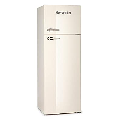Montpellier MAB345C 305 Litre Freestanding Fridge Freezer Retro Top Mount 80/20 Split Frost Free 60cm Wide - Cream