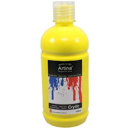 Artina Crylic Acrylfarben - hochwertige Künstler-Malfarbe in 500 ml Flaschen in Zitronengelb & weitere Farben