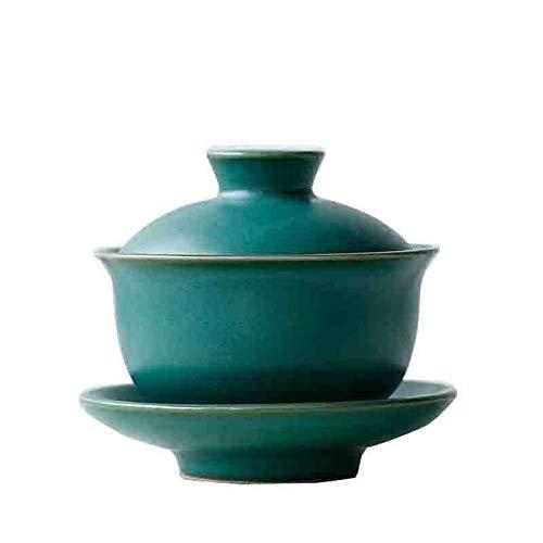 YANGYANG Juego de Tapa de platillo de Cuenco de té de cerámica Gruesa de 110 ml de cerámica Gaiwan, vajilla de té Hecha a Mano, Tetera, decoración Artesanal, Ciruela