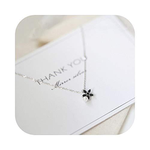 『甘い銀色のデイジーの花のネックレスの女性の黒ジルコン梨鎖骨チェーンチョーカー-』のトップ画像