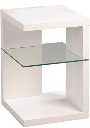 Dreams4Home Beistelltisch 'Vahla' Holz Weiß Hochglanz Glas 40x60 cm Tisch Ablage Sofatisch Ablägefläche Wohnzimmertisch