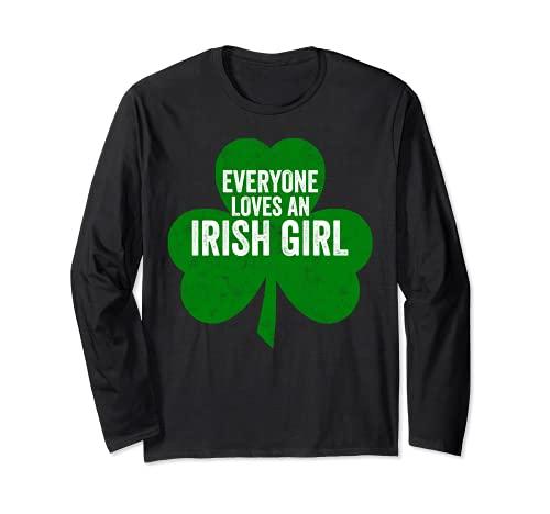 Día de San Patricio Divertido Regalo Todo el mundo ama a una chica irlandesa Manga Larga