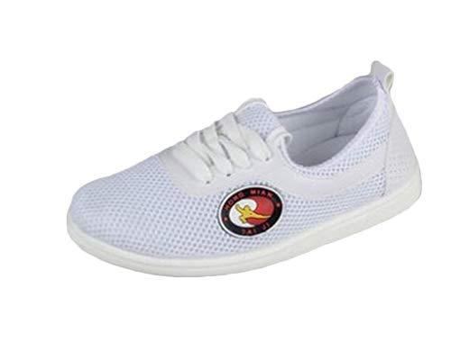 Unisex 1 Par Zueco De Trabajo Ventilación De Malla Zapatos De Lona Planos Antidelizante Transpirable 21Blanco 44 EU