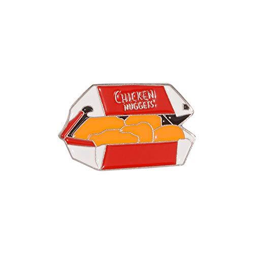 Chicken Nuggets Emaille Pin Fast Food Brosche Lustige Abzeichen Geschenke für Kinder Lieblings Pop Revers Jacken Rucksack Pin Zubehör-Chicken Nuggets 1