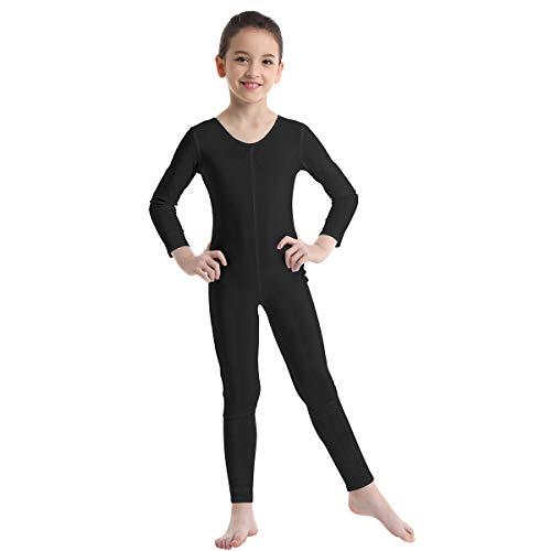 Agoky Unisex Mädchen Jungen Basic Ganzkörperanzug Einteiler Schlafanzug Jumpsuit Kostüm Ballettanzug Overall Langarm Body Schwarz 128-140/8-10 Jahre