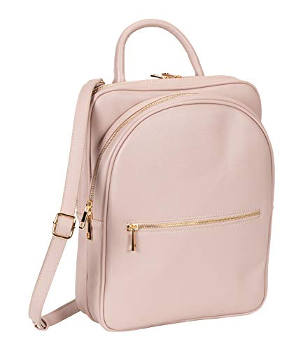 SIX 1 pc. of Old Pink Vegan Leather Backpack with Golden Details (539-064)