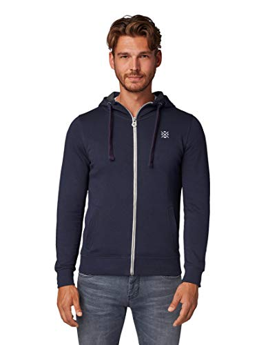 TOM TAILOR Herren Strick & Sweatshirts Sweatjacke mit Kapuze Washed Knitted Navy Melange,M