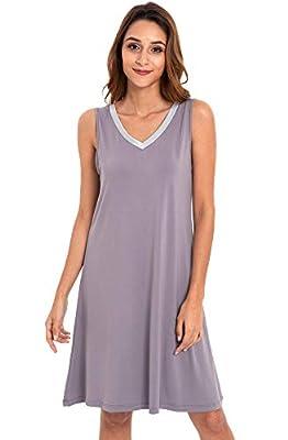 GYS Womens Bamboo Viscose Sleeveless V Neck Nightgown Purplish Grey Silver, Medium by