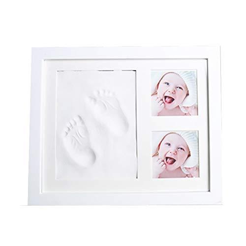 Kit cadre photo empreinte de main et empreinte béb Nouveau-né Baby Foot Hand Print boue Souvenir Photo Frame Set avec Pad sécurisé tactile for Personalising cadeaux de bébé immortaliser vos souvenirs