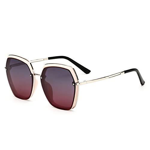 Gafas de sol polarizadas anti rayos UV para mujer, gafas de sol elegantes polígonales clásicas, lentes grandes, color negro, plateado y rosa (color: rosa)
