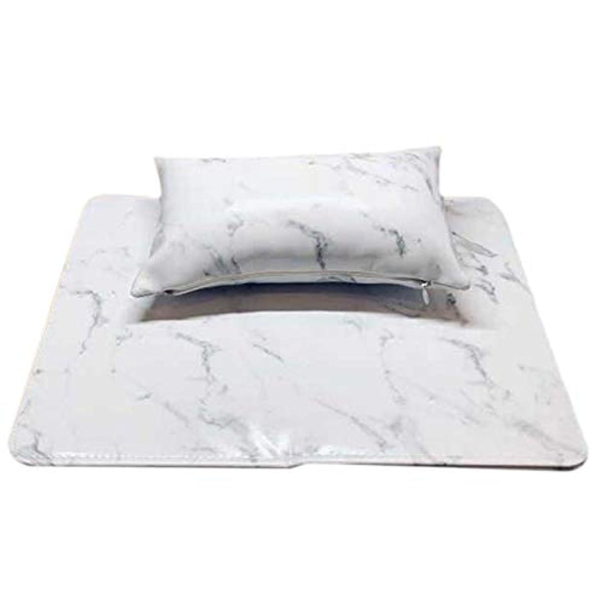 ペフ背の高い潜在的なCUHAWUDBA マニキュアツール ソフトハンドクッション枕とパッドレストネイルアートアームレストホルダー マニキュアネイルアートアクセサリーレザー(2個 一体化)ホワイト