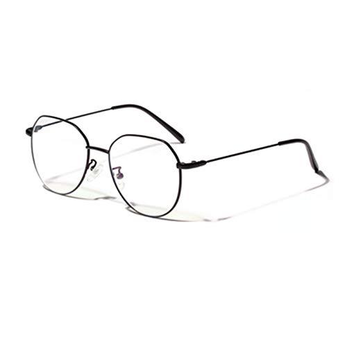 NWYJR Gafas de filtro de luz azul antiazul luz retro negro plata oro espejo plano femenino marco de metal gafas hombre ideal para juegos, uso en computadora y lectura (color negro)