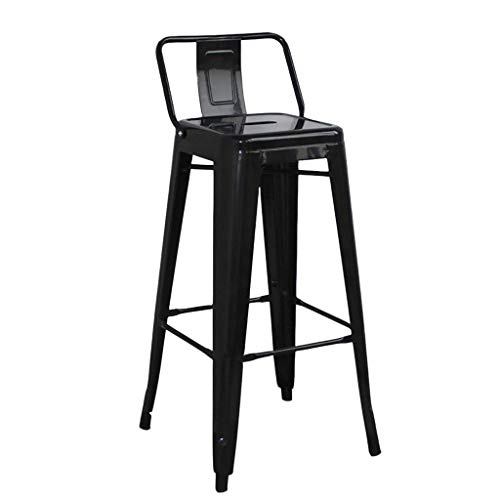 Sywlwxkq 76cm High Metal Counter Height Dining Bar Stool/Modern Style Industrial Vintage Gun Counter Bar Stools Square, Red, Black, Gray, Blue(color : Black, Size : 76cm)
