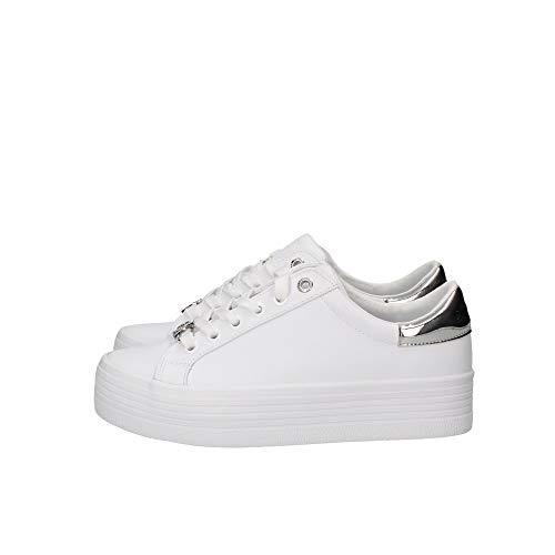 Calvin Klein Vulcanized Flatform Lace Up - Zapatillas deportivas para mujer, color blanco, color Blanco, talla 38 EU