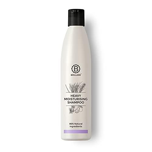Brillare Heavy Moisturising Shampoo, For Frizzy, Dry, Undernourished Hair, 300 ml, Wheat Germ & Avocado Fruit, 100% Vegan, Natural, Paraben-Free