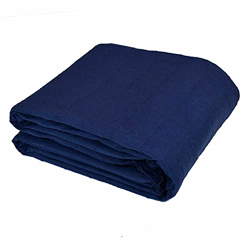 Button Navy 100% Cotton Throw Blanket For Double Bed 2 Seater Sofa Couch Chair (70