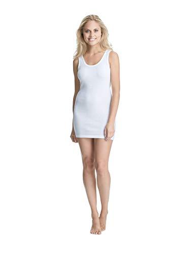con-ta Achselhemd lang, Unterwäsche mit Spitze für Damen, Unterhemd in Feinripp, Perfekter, Trägertop aus Baumwolle in Weiß, Größe: 56