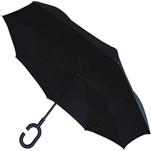 COLLAR AND CUFFS LONDON - Paraguas Invertido - A Prueba DE Viento - Muy Fuerte - Estructura Reforzada con Fibra de Vidrio - Adentro hacia Afuera Inverso - Doble Capa - Negro