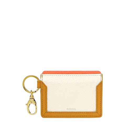 Fossil Lee Leather Card Case Wallet with Keyring Attachment, Mustard Gold