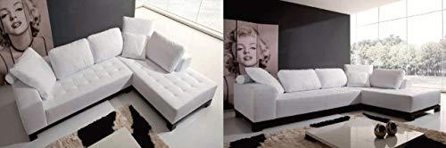 Sofá de 3 plazas, chaise longue de tela blanca