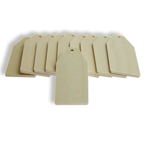 Herr Bo & Co 10 Stück Streudeko Geschenkanhänger mit Bohrung, naturbelassenes Holz, FSC-Zertifiziert, Made in Germany