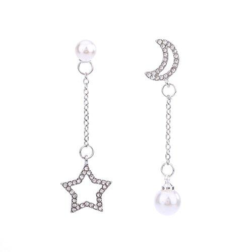 Luna y Estrellas Rhinestone Colgantes Pendientes Asimétricos