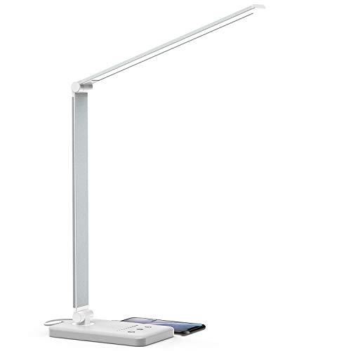 Schreibtischlampe, LED Schreibtischlampe Dimmbar mit USB, Schwenkbar LED Tischlampe Bürolampe, 5 Farb- und 10 Helligkeitsstufen, Touch-Bedienung, faltbar, Tischleuchte für Büro und Haus (Silber)