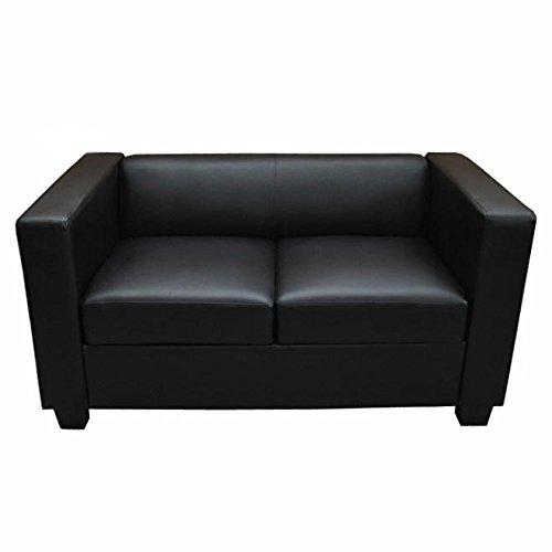 Mendler 2er Sofa Couch Loungesofa Lille ~ Kunstleder, schwarz