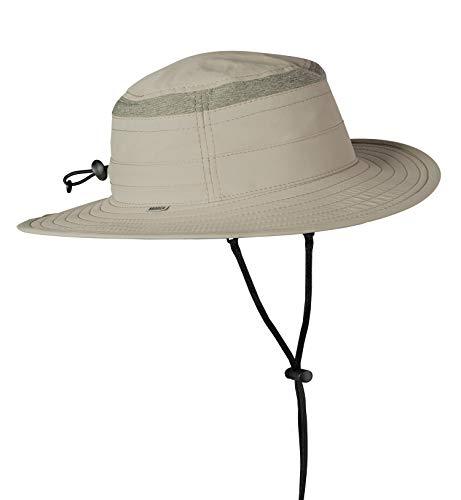 Broner Mens Supplex Big Brim Hat with Detachable Chincord, Khaki, XL