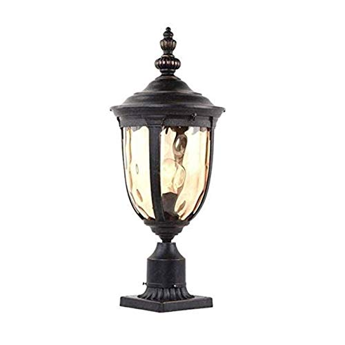 Post Cap Lamp Patio Garden Decoration Outdoor Post Lamp With Pier Mount For Yard 1-Light 60W E27 Post Light Fixture 48cm High Vintage Post Lantern In Black Aluminum Finish With Hammered Glass, IP55 Wa