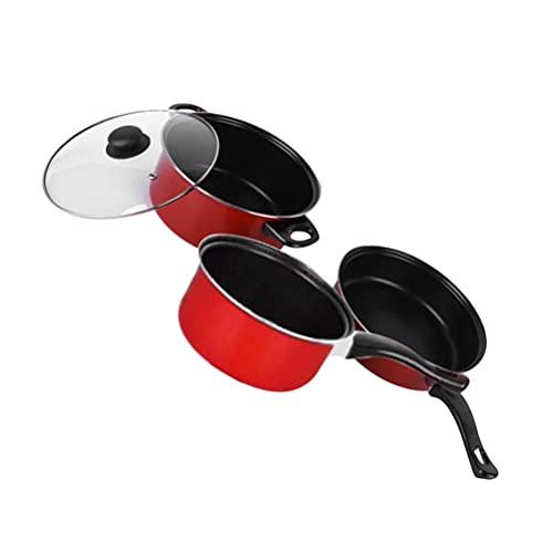 Hemoton Juego de utensilios de cocina antiadherente 3 unids con sartén cacerola olla antiadherente utensilios de cocina Accesorios para el hogar interior interior rojo
